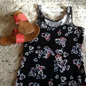 SO size Small black tank with flower design